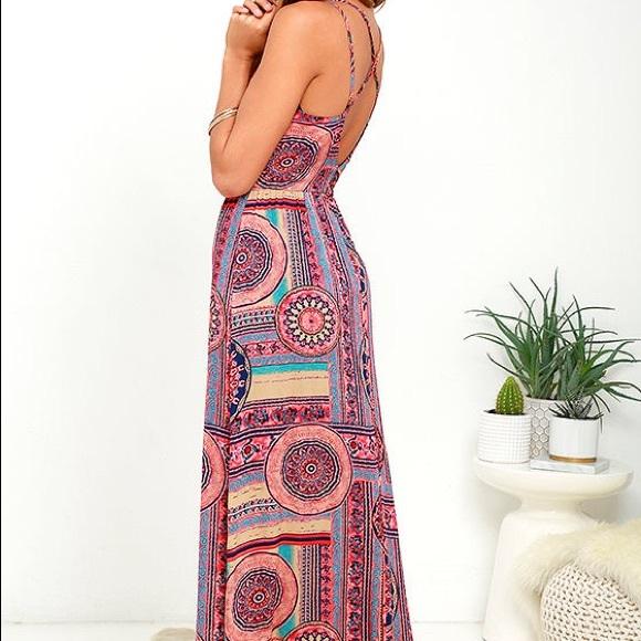 c9e940b332 Lulu's Dresses & Skirts - Sunrise to sunset coral pink print maxi dress